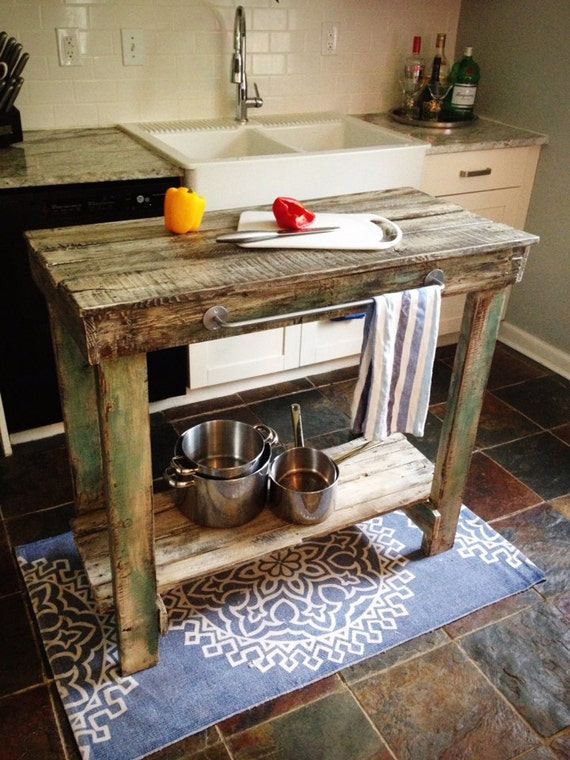 Reclaimed wood kitchen island reserved for anabelle - Como hacer una barra con palets ...