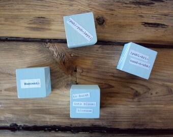 Set of Writer's Blocks - Unique Teacher Gift - Quirky Writing Geekery - Blue Spring Desk Decor - College School Dorm Trinket - 4 Word Blocks