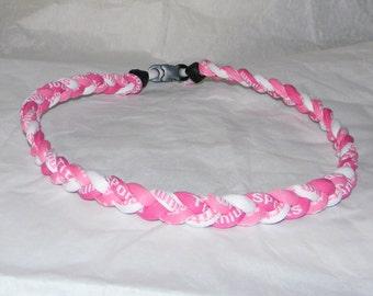 "Titanium Tornado 3 Braid  Rope Sports Necklace 18"" - Hot Pink, White, Pink"