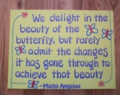 Wall Art - Canvas Panel - Quote by Maya Angelou