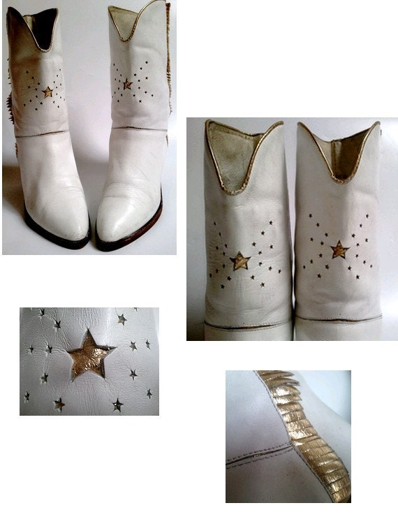 ITALIAN WESTERN BOOTS  white leather and gold stars / fringes/medium heels  us6 fr37 80s