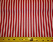 RED & WHITE  STRIPED Fabric      pattern  1/2  Yard   Piece 100% Cotton  Fabric