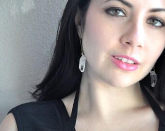 Natural Quartz Crystal Dangle Earrings
