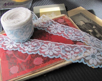 """White and Blue Scallop Lace Sewing Trim - 1.75"""" Inches Wide - 9 yards total #44G1"""