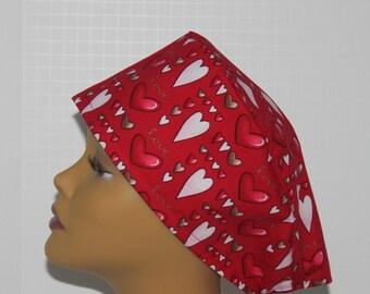 Surgical Scrub Cap - Valentine's Day Scrub Cap - Red and Pink Hearts Scrub Hat