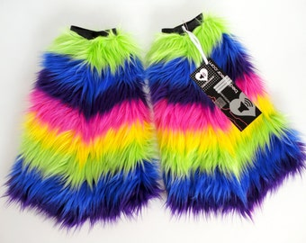 Rainbow rave fluffies legwarmers bootcovers furry legwarmers leggings faux fur boots leggings