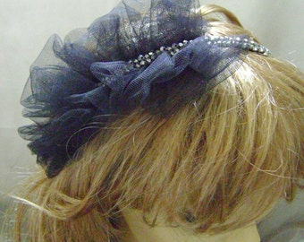 Black Net Beaded Fascinator