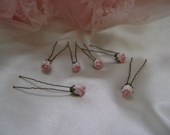 Six Pale Pink Rosebud Hairpins