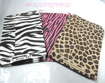 30 Hot Pink Zebra, Leopard and Wild Zebra  5 x 7 inch Animal Print Paper Bags, Colored Flat Paper Party Bags, Striped Paper Merchandise Bag