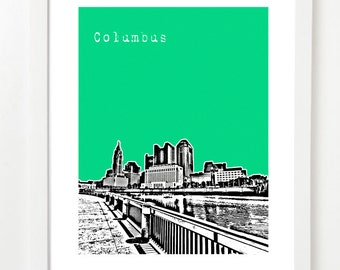 Columbus Ohio Art Print - Columbus Skyline Poster - VERSION 2