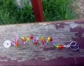 Beaded Dreadlock / Hair Coil, Rainbow Colours With Peace CND Charm.