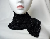 Hand-Knitted Short Scarf / Neck Warmer - Bow Tie Style - BLACK with SILVER fleck