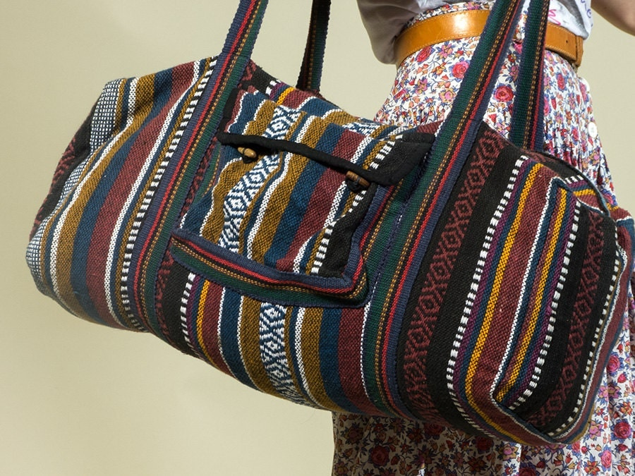 Ethnic Nepali Duffle Bag Striped Hippie Boho Luggage Bag