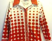 Retro Red Polka Dots Optical Circle Shirt / Jacket