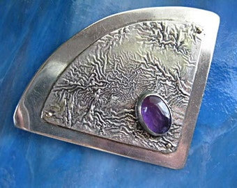 Sterling Amethyst Brooch, Mid Century Modernist Fan Shaped Triangle Abstract, signed C A Johnson