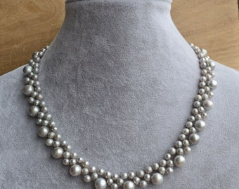 pearl necklace ,wedding necklace,17 inches 4.5-8mm gray Freshwater Pearl necklace, bridesmaid gift