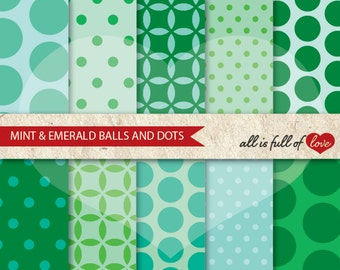 Scrapbook Digital Paper Pack MINT and EMERALD Printable Background Balls and POLKA Dots