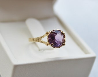 Vintage 14K Gold Amethyst Ring, February Birthstone