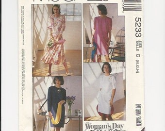 UNCUT Sewing Pattern McCalls 5233 for Dress, Sz 10-12-14, 1990s