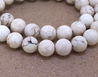One Full Strand---Round White Turquoise Beads----10mm----about 40Pieces----16inch one strand