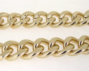 Shiny Cut Twist O Light Gold Plated Metalic Aluminium Chunky Curb Chain ----- 19mmx 23mm---thickness about 5mm----38""