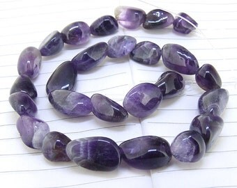 """One Full Strand--- Nugget  Natural Amethyst Crystal Quartz Gemstone Beads ----- 10mmx16mm ----- about 25Pieces --- 15.5"""" in length"""