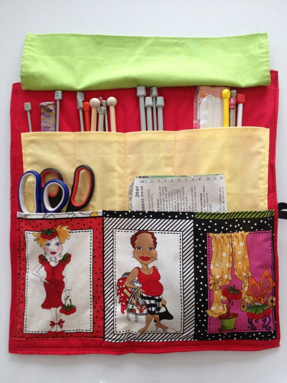 Quilted Knitting Needle Case Pattern : Ooak needle holder quilted fabric by carraigdesigns on etsy