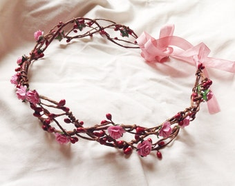 Romantic Bridal pink rose and red  pip berry hair crown wreath garland headband - floral, nature, love, woodland, vintage inspired