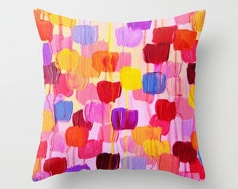 DOTTY in Pink - Abstract Art Throw Pillow Cover 16x16 18x18 20x20 Rainbow Colorful Square Pink Polka Dots Original Abstract Painting