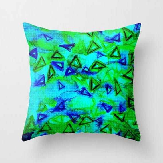 DECORATIVE THROW PILLOW Cover 18 x 18 Throw Cushion Case Vibrant Neon Blue Green Art Techno Dance  Abstract Geometric Watercolor Painting