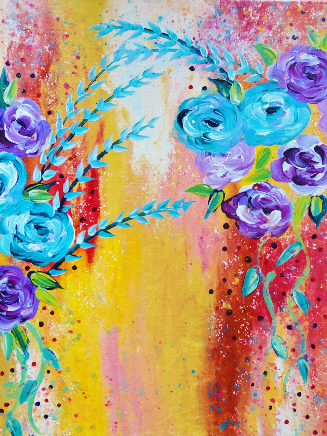 More is more 18 x 24 beautiful floral abstract acrylic for Floral acrylic paintings