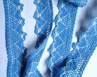 "Crochet Cluny Lace Trim, Blue, 1"" inch wide, 1 yard, For Scrapbook, Mixed Media, Accessories, Gift Baskets, Romantic Crafts"