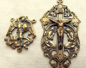 Bronze St. Michael the Archangel Center & Crucifix w Angels Rosary Set