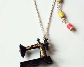 Victorian Sewing Machine Necklace, Craft Jewellery, Singer sewing necklace, vintage kitsch