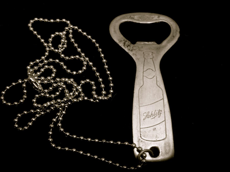 Cool Rare Vintage 1940s Schlitz Beer Church Key Bottle Opener