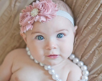 baby girl headbands..girls headband..vintage pink headband..