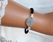 Fine Silver Celtic Knot Bracelet, Black and Silver Bracelet, Sun Knot Bracelet, Nautical Jewelry, Ethnic Jewelry, Kazaziye Bracelet, Bangle