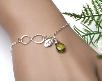 Infinity Monogram Bracelet,custom initial leaf bracelet,custom birthstone,hand stamped leaf,Bridesmaid's gift,best friend gift,birthday gift