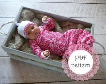 Baby girl pattern. Newborn gown. PDF pattern, easy with lots of pictures. Sewn with sewing machine alone.   (From lippy brand patterns)