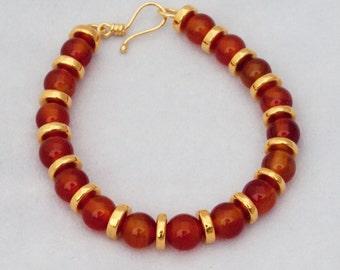Carnelian and ceramic bead bracelet