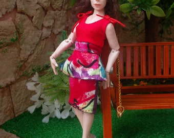 Colorful wearable woman dress for 1:12 scale doll house dolls