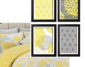 Yellow Grey Floral Vintage / Modern inspired  Art Prints Collection  -Set of (4) - 8x10 Prints -   (UNFRAMED)