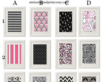 Free Shipping Vintage Modern inspired Art Prints  - Sets of (12) - 8x11 Prints - Black Pink White UNFRAMED  Custome sizes are available.