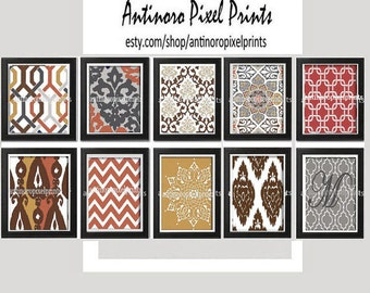 Autumn Burnt Orange Brown Charcoal Grey White Vintage / Modern inspired Art Prints -Set of  (10) Prints - 8x10 Prints - (UNFRAMED)