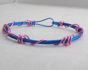 Wire Wrapped Bangle Pink on Blue