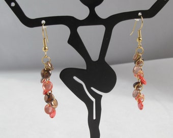 Orange and Brown Lentil Cascade Earrings on Fish Hook Ear Wires