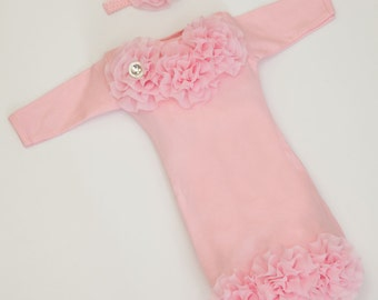 Infant Layette Pink Baby Gown with Pink Chiffon Flowers and Rhinestones