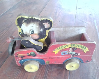 Teddy Trucker 1950s pull toy