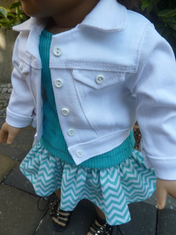 American Girl Doll Clothes - Sweet Chevrons in Minty Teal 3 piece outfit includes white denim jacket, tank top and ruffled skirt