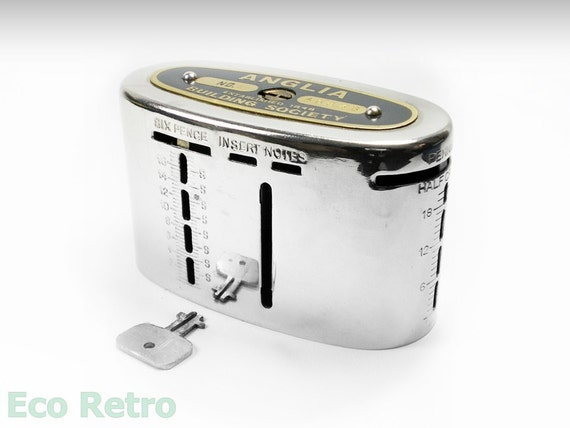 Vintage Pre Decimal Anglia Home Safe Money Box Complete With Key